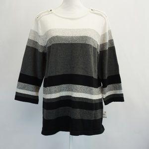 Karen Scott Striped Zip Shoulder Sweater 1X
